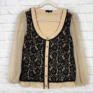 RYU Crochet Lace Sheer Sleeve Button Down Cardigan